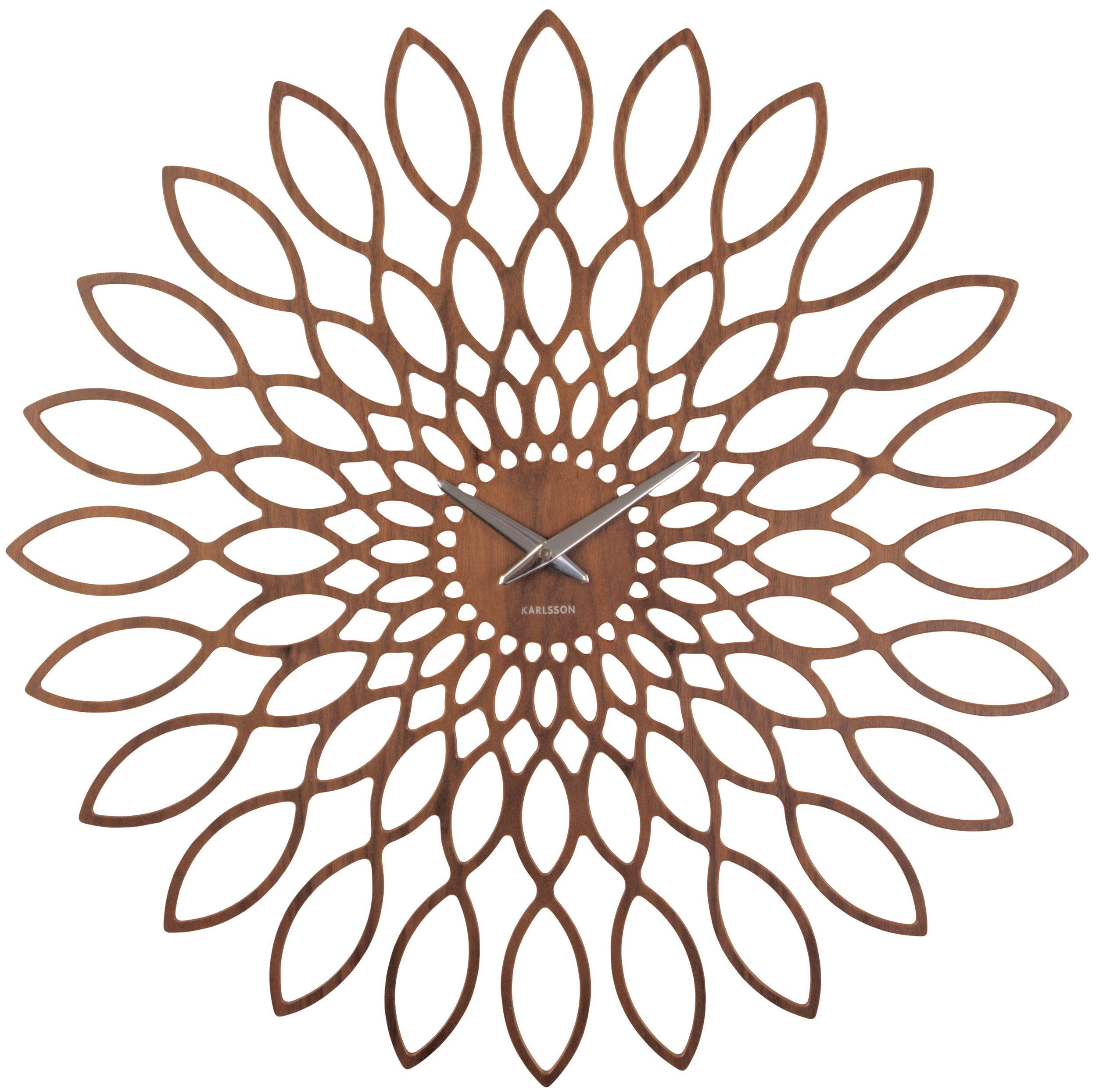 wanduhr karlsson sunflower holz ka5573 g nstig auf laclock. Black Bedroom Furniture Sets. Home Design Ideas